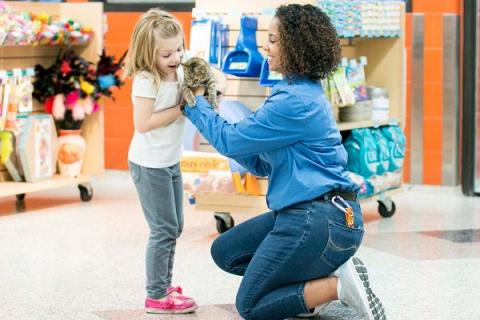 Adoption staff handing kitten to young girl
