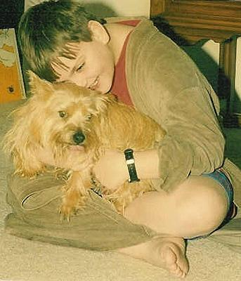 Young Alex with his dog