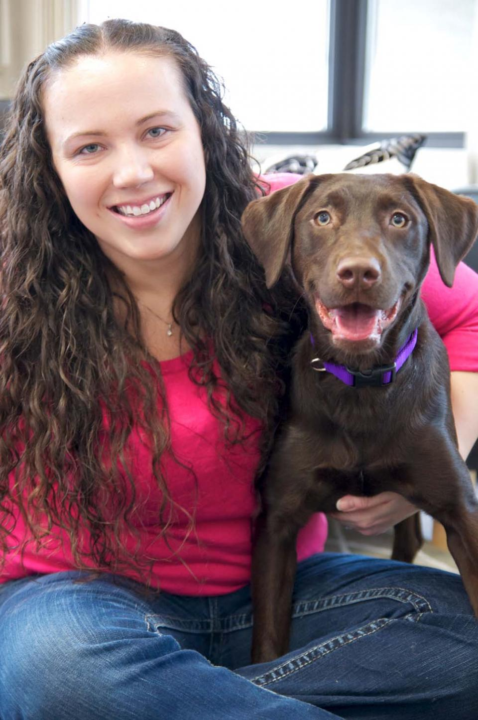 Woman holding a young chocolate lab
